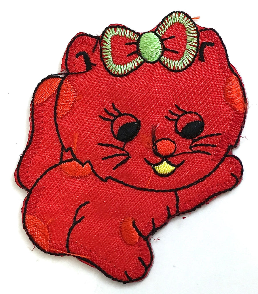 "Kitten with Red Satin Embroidery Iron-On 3"" x 2.5"""