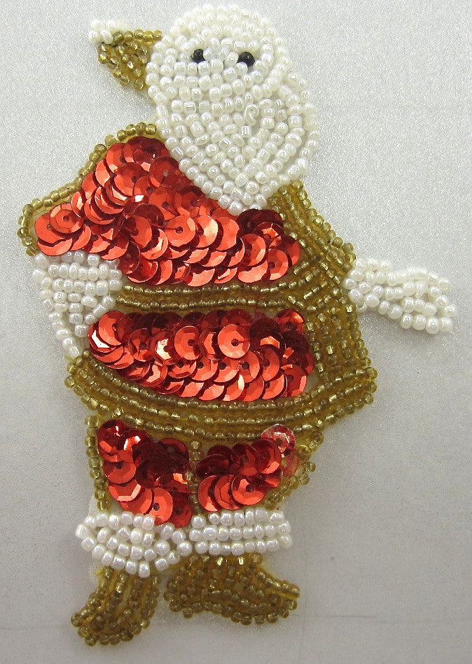 "Santa wirh Red Sequins, Gold and White Beads 4"" X 3"""