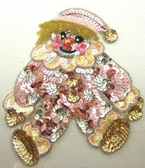 "Clown with Pink Gold Silver Sequins and Beads  7.5"" x 6"""
