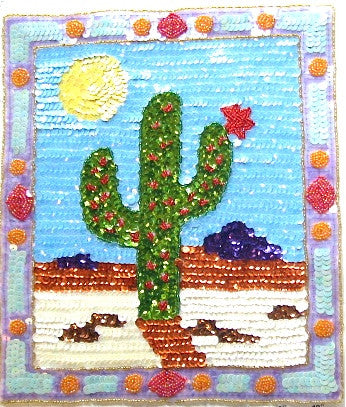 "*Cactus Applique with Multi-Colored Sequins Beads 13"" x 10"""
