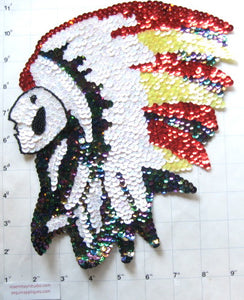 Native American Chief with White Moonlight Red Yellow Sequins, Black Beads in two variants