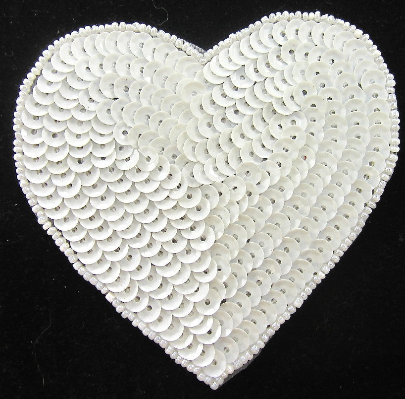 Heart with White Sequins and Beads 4""