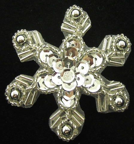Snowflake with Silver Sequins and Beads 2.5""