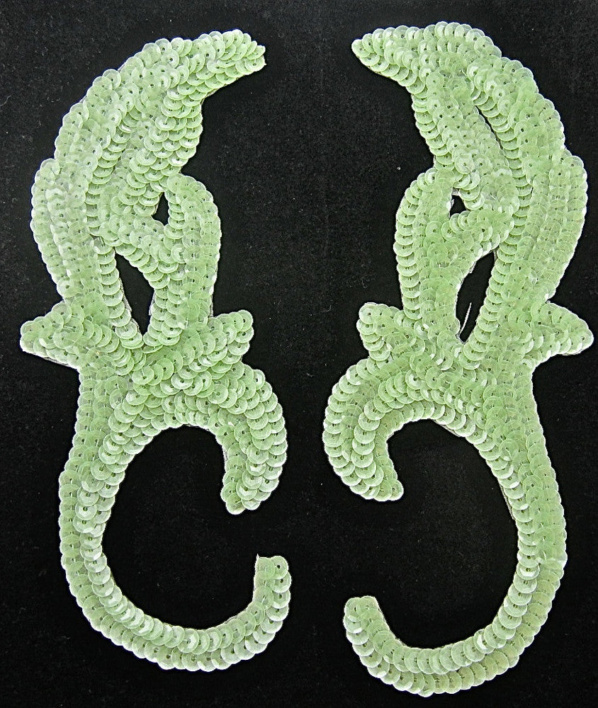 "Designer Motif Pair with Mint Green Iridescent Sequins 8"" x 3.25"""