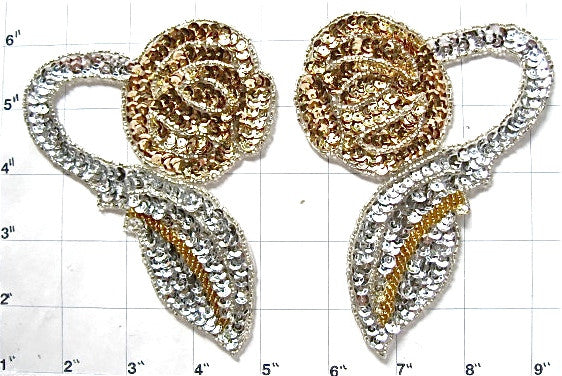Flower Pair with Gold and Silver Sequins and Beads 5
