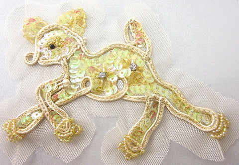 "Fawn Iridescent Sequins with Two Rhinestones on Clear Netting 5"" x 3"""