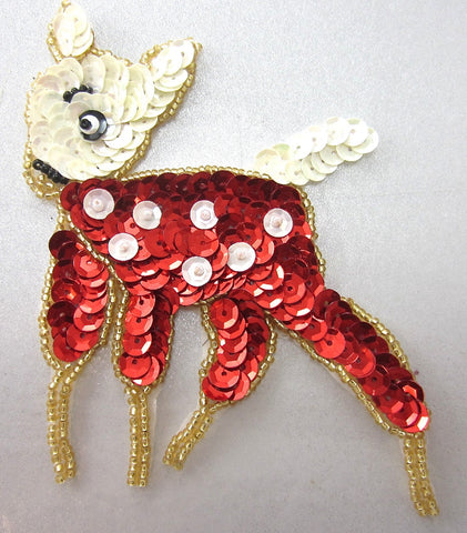 "Fawn in White and Red 4"" x 3.5"""