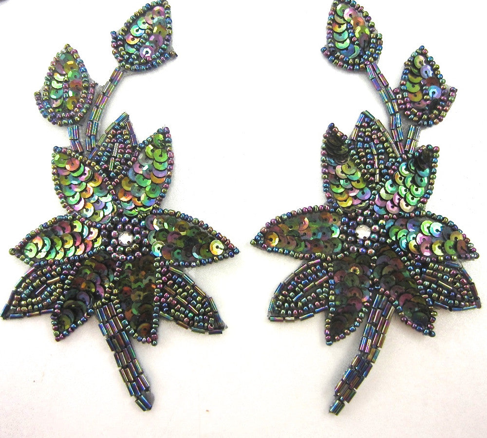 "Flower Pair with Shiney Moonlite Sequins and Beads 6"" x 3.5"""