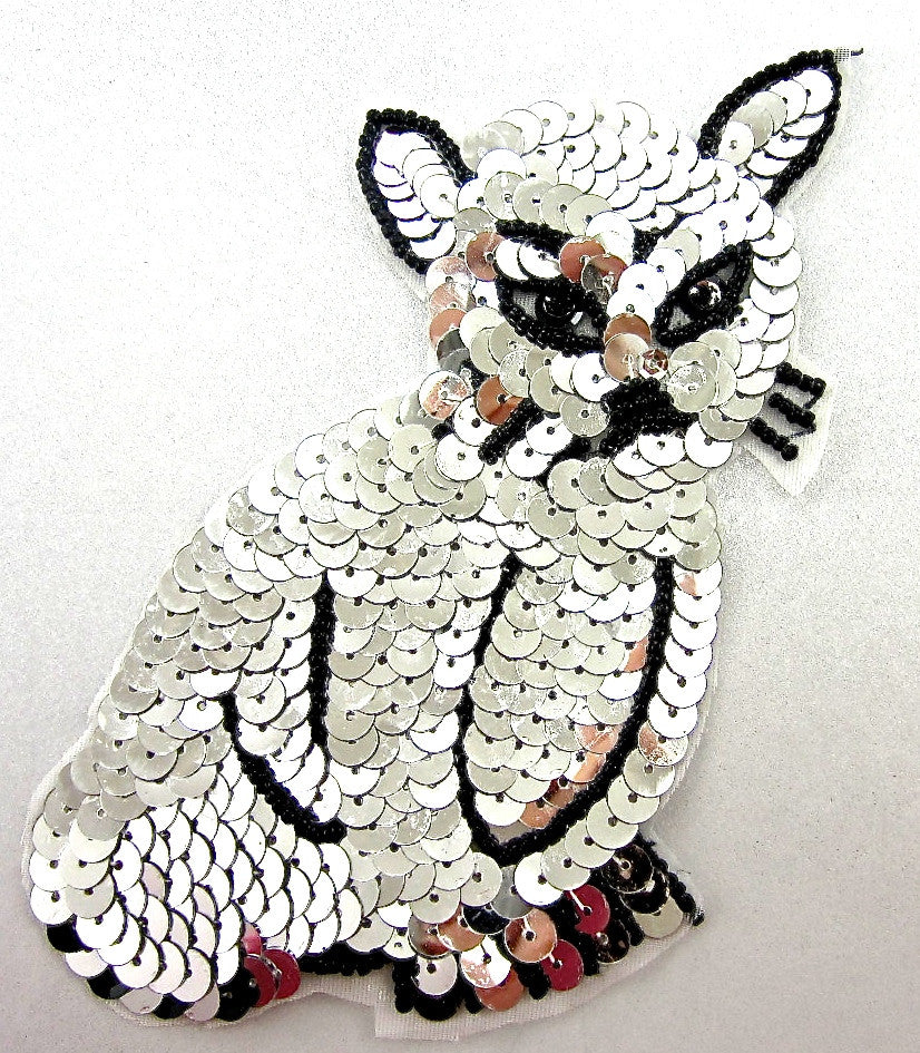"Cat with Silver Sequins and Black Beads 5"" x 3.5"""