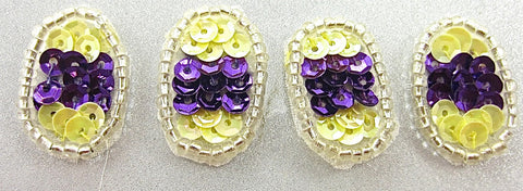 "Egg for Easter Set of Four Purple and Yellow Sequins 1"" x .5"""