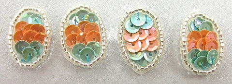 "Egg for Easter Set of Four Peach and Turquoise Sequins 1"" x .5"""