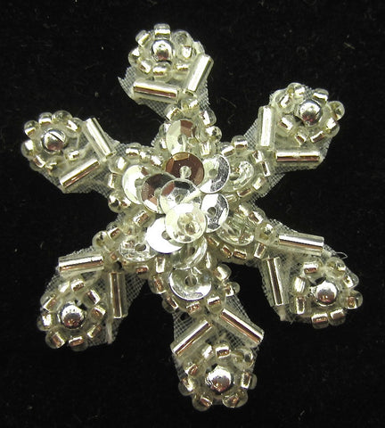 Snowflake Silver Sequin Beaded 1.5""
