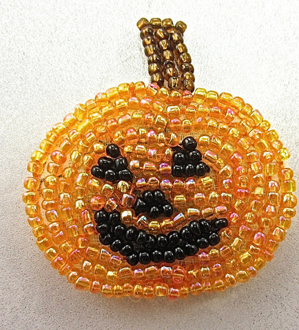 Pumpkin with Orange and Bronze Beaded Stem 1 7/8""