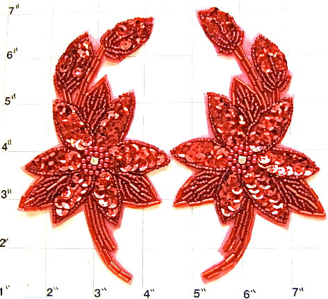 "Flower Pair Red Sequins and Beads and Rhinestones 3.5"" x 6"""