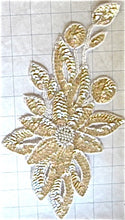 "Load image into Gallery viewer, Flower with Beige Sequins and Beads 11.5"" x 6.5"""
