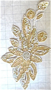 "Flower with Beige Sequins and Beads 11.5"" x 6.5"""