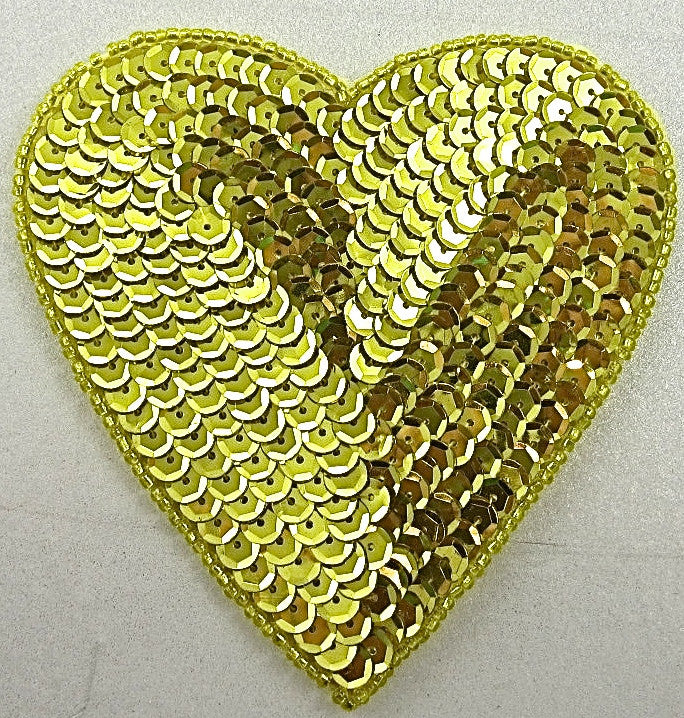 "Heart with Shiney Brite Yellow/Gold Sequins and Beads 4""x4"""