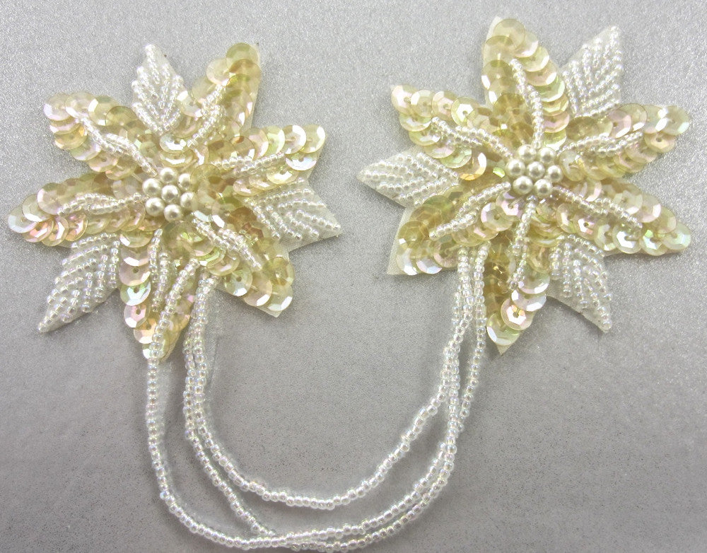 "Epaulet with Yellowish Iridescent Sequins and Beads 3""x 3"""