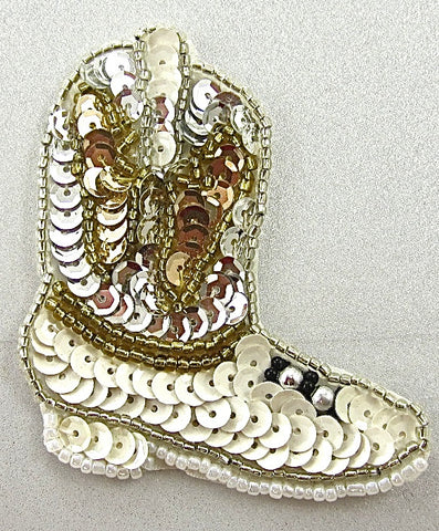 "Boot Cowboy with Silver Gold and White Sequins and Beads 3"" x 2"""