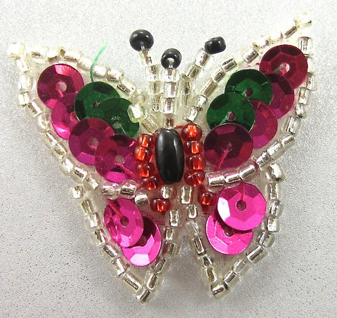 "Butterfly with Multi-Colored Sequins and Beads 1"" x 1.25"""