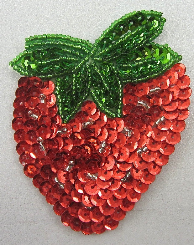"Strawberry with Red and Green and Gold Sequins and Beads 3"" x 2.5"""