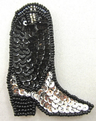 "Boot Cowboy with Silver and Black Sequins and Beads 3.5""  x 2.25"""