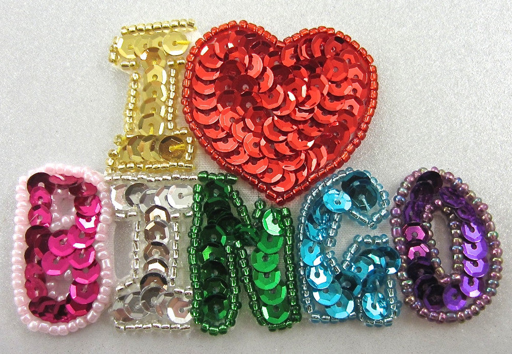 "I Love Bingo with Multi-Colored Sequins and Beads 2.5"" x 3.5"""