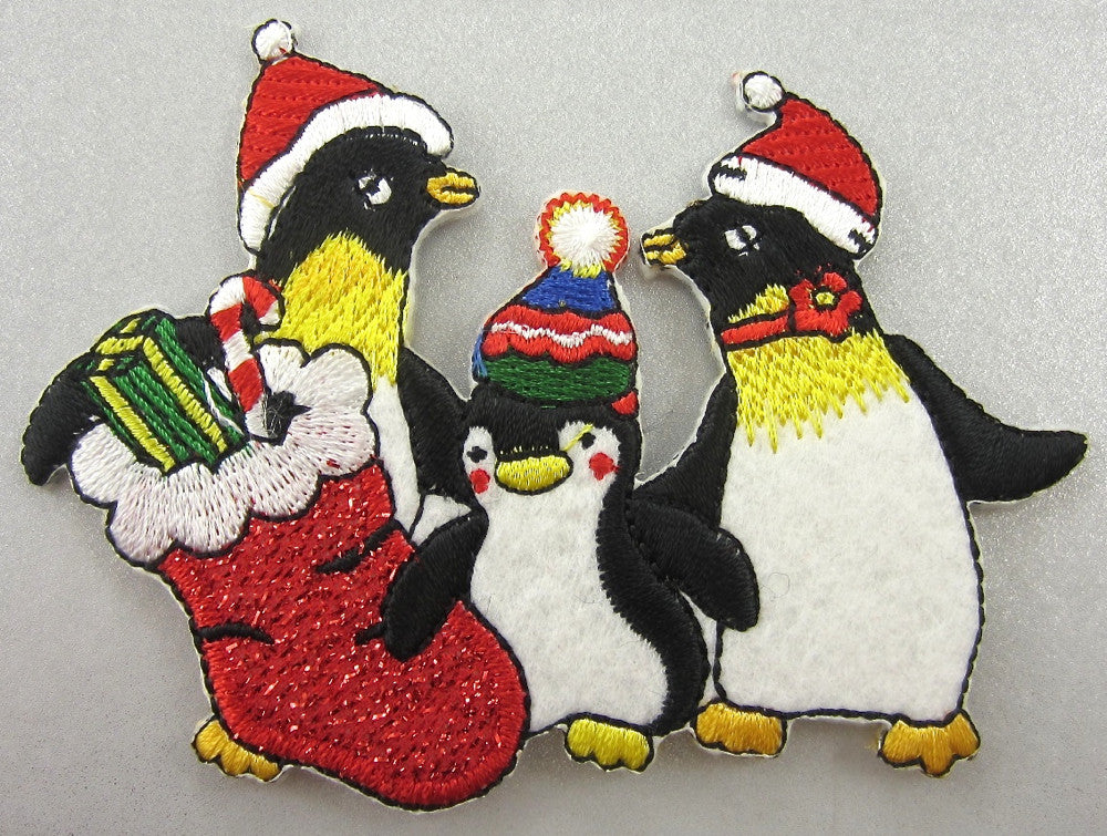 "Penquins dressed for Christmas Embroidered Iron-On 3"" x 4"""