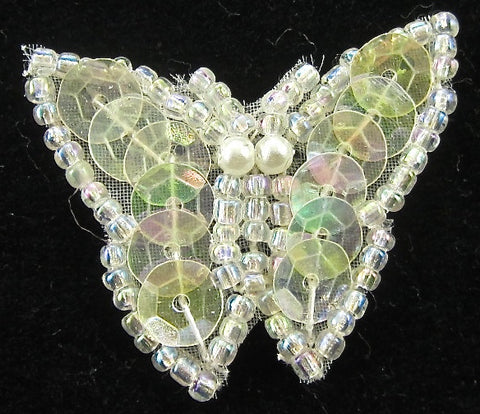 "Butterfly with Iridescent Sequins and Beads 1"" x 1.25"""