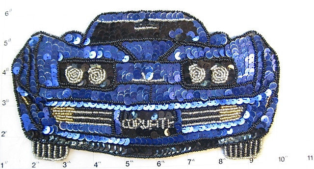"Corvette 1970's Era with Royal Blue and Black Sequins and Beads 9"" x 5"""