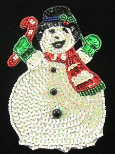 "Snowman with Candy Cane 5"" x 3"""