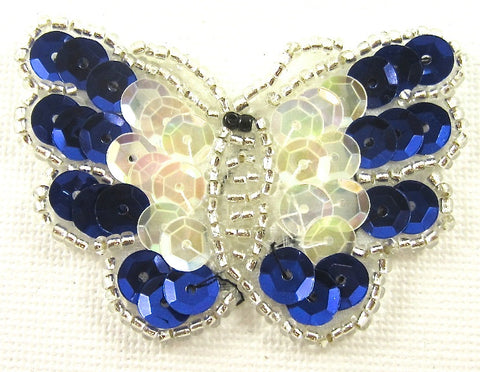 "Butterfly with Royal Blue and Iridescent Sequins 1 7/8"" x 2.25"""
