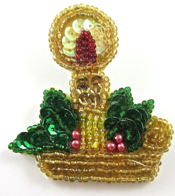 Christmas Candle with Felt Back and Pin, Multi Colored Sequins and Beads  2.5