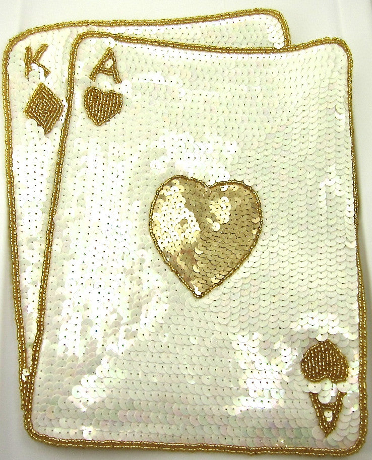 "Ace King Playing Card Large with Gold and China White Sequins and Beads 12"" x 10"" - Sequinappliques.com"