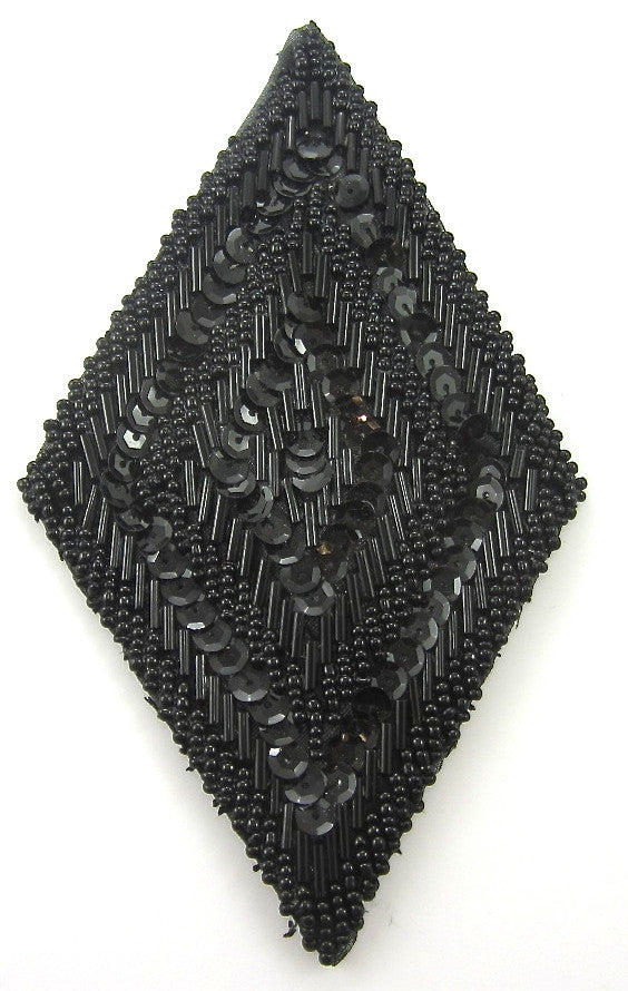 "Designer Motif Diamond with Black Beads and Sequins 5.25"" x 3"""