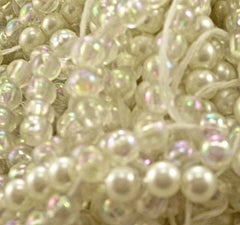 Beads White Pearls and Some Iridescent 2 lbs 12 ounce Bag