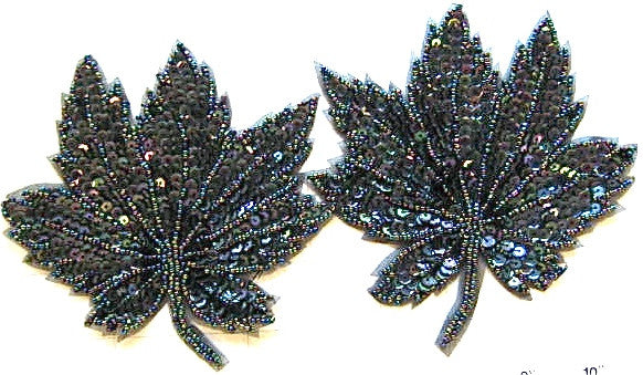 "Leaf Pair Moonlight Sequins and Beads 5"" X 5"""