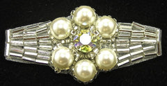 "Designer Motif with Gold Beads Pearls and AB Rhinestones 1"" x 2.25"""
