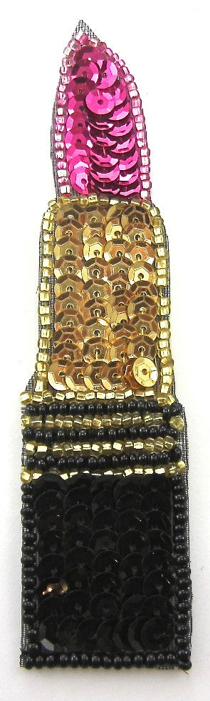 "Lipstick with Black, Gold, Fuchsia Pink Sequins and Beads 4.25"" x 1"""