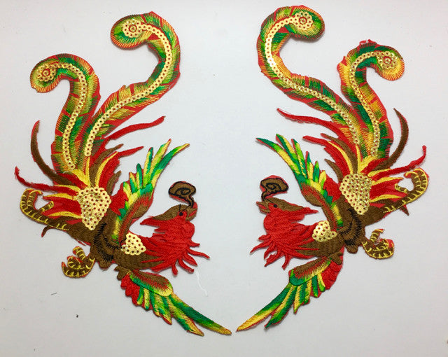 "Bird Pair Oriental Style Embroidered with Sequins 5.5"" x 10"""