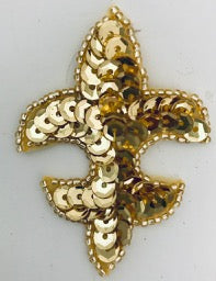 "Fleur de lis Gold sequins and beads 2.5""x2"""