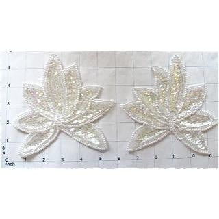 "Leaf Pair with Iridescent Sequins and White Beads 4"" x 5"""