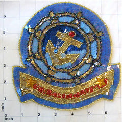 Nautical Applique Yacht Club, Sequin Beaded 12""