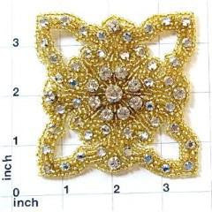 "Designer Motif with Gold Beads and Many Rhinestones  3.25"" X 3.25"""