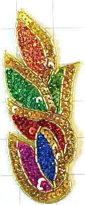 "Flame with Multi-Colored Sequins Gold Beads 5.5""  x 2.25"""