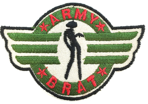 "Army Brat Embroidered Patch Iron-On 3.25"" x 2.25"""