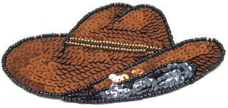 "Cowboy Hat with Bronze Sequins 5.5"" x 3"""