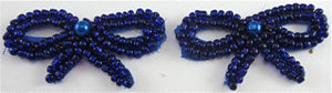 "Bow Pair with Blue Beaded 1"" x 1.5"""