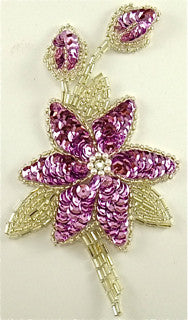 "Flower with  Pink Sequins and Silver Beads with Rhinestone 3"" x 5"""