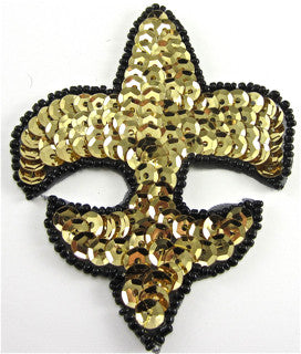 "Fleur de lis with Gold Sequins and Black Beaded Trim 3""  3.75"